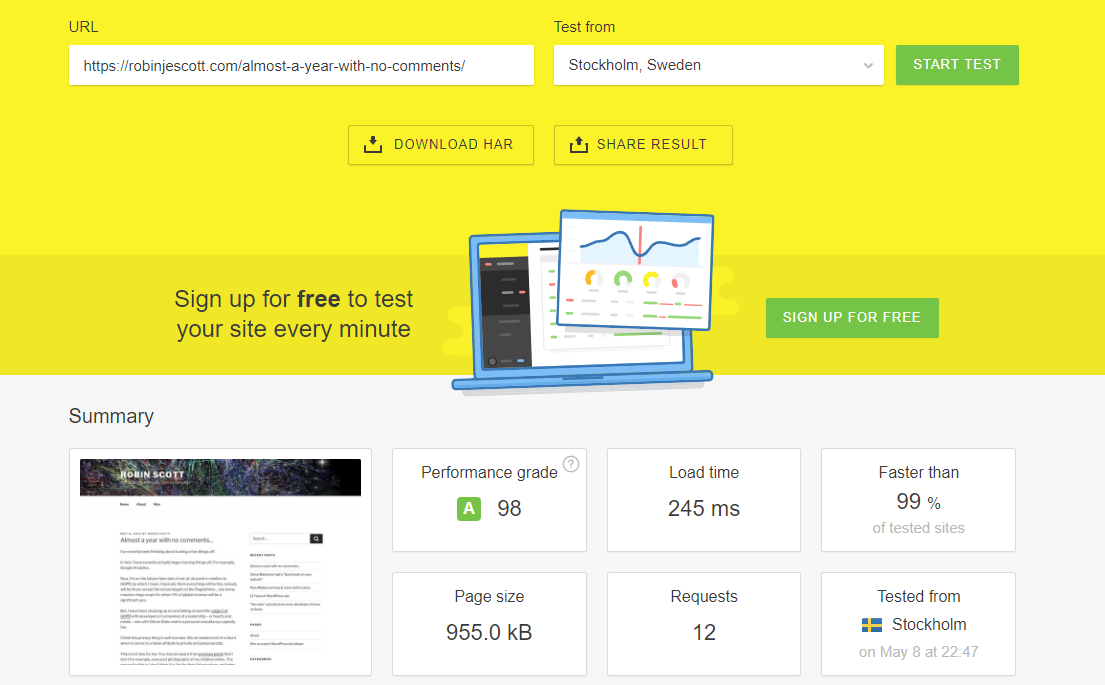 Pingdom performance test results showing 245ms load time of this website