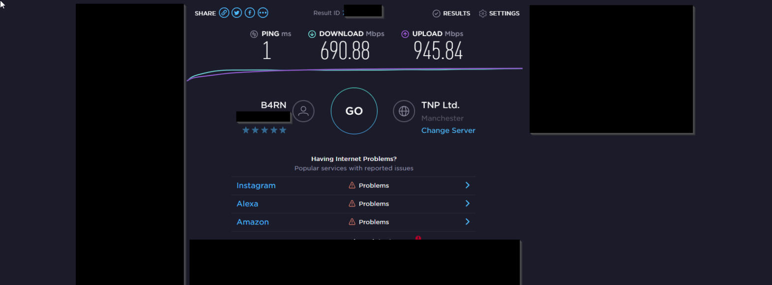 Broadband speed test results